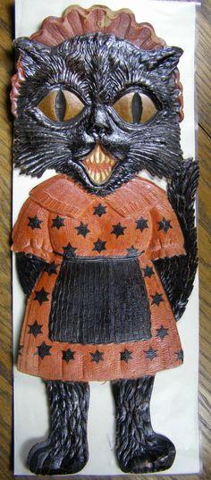 German Die Cut Embossed Black Halloween Cat