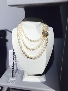 We're feeling creative here this week at Azure. Lots of new designs in store. This is a triple strand pearl necklace with a dazzling clasp on it. Available in a range of colours and sizes. Pearl Necklace, Jewelry Making, Ivory, Range, Colours, Jewellery, Pearls, Creative, Handmade