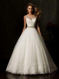 Modest Sweetheart A-line Chapel train Beaded Satin Lace Wedding Dresses
