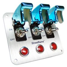 3 Toggle Switch LED Nitrous Activate Panel Blue Safety Covers Aircraft 12 Volt | eBay
