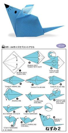 Oct 2016 - How to make an Origami Mouse. Origami Mice Pattern for kids. Cute Paper Mouse craft for kids. Chinese New Year Year of the Rat! Origami Design, Instruções Origami, Origami Simple, Origami And Kirigami, Origami Ball, Origami Dragon, Paper Crafts Origami, Origami Stars, Diy Paper