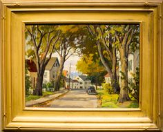 Jacob Greenleaf (1887-1968)  Main Street oil on canvasboard signed  12 x 16 in., excellent