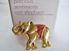 VTG Avon Elephant Tac Pin Red Enamel by RepurposedTreasure on Etsy, $10.00    ....SOLD