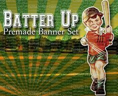 Shop Banner  Banner Set  Etsy Banner Set  by LalipopsandDaisies,  #etsybanners #bannerset #baseball #vintage #sports #shopbannerset
