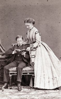 Princess Louise & Prince Leopold, ca 1870.  Louise was Leopold's favorite sister and he called her 'Lucy'.  As adults, they had interests in common, such as art and culture.