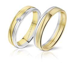 bicolor gouden diamanten trouwringen | 2 kleurige gouden trouwringen DR €766 HR €617 Wit en geel gouden bewerkte trouwring met in de damesring een diamant 0.06ct. #jdbw #trouwringen #angelidibosca #gouden #diamanten