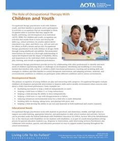The Role of Occupational Therapy With Children and Youth. Repinned by SOS Inc. Resources.  Follow all our boards at http://pinterest.com/sostherapy  for therapy resources.