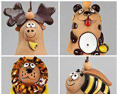 Small Ceramic Bell: Moose, Lion, Tiger, Bee, Kid toy, School Accessory, Christmas Decoration, Housewarming Souvenir, Christening Gift Idea