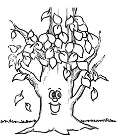 Fall Leaf Happy Tree Coloring Page