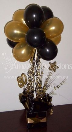 Trendy birthday decorations black and gold party ideas Ideas Black And Gold Centerpieces, Black And Gold Balloons, Black Gold Party, Black And Gold Party Decorations, Wedding Black, Trendy Wedding, Gold Wedding, Wedding Flowers, Topiary Centerpieces