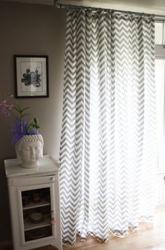 chevron curtains, grey and white bedroom?