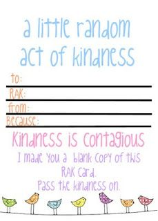 Random Act of Kindness printable - pass the kindness on!