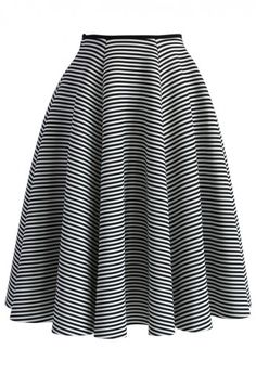 Chic Stripes Airy Full Midi Skirt #streetstyle