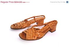 Vintage 60s TOASTED Woven and Braided Leather Slingback Sandal Heels 6.5. $28.90.