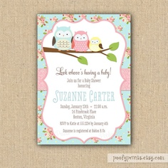 Shabby Chic Owl Baby Shower Invitations - DIY Printable Baby Girl Shower Invitations. $20.00, via Etsy.