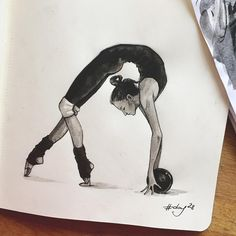 by maria_oira Girl Drawing Sketches, Cool Art Drawings, Dancer Drawing, Sports Drawings, Dancing Drawings, Rhythmic Gymnastics, Art Pictures, Art Reference, Inspiration
