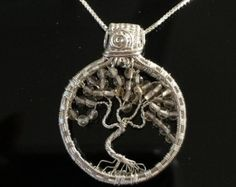Sterling Silver Tree of Life Necklace with от AOAjewelry на Etsy