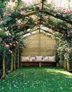 vine covered arbor with seating