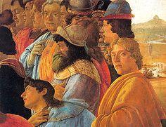 L'Adoration des Mages, détail, vers 1475, Sandro Botticelli, (Florence, Galleria degli Uffizi)