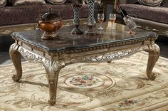 Caesar Palace European Style Classic Marble Coffee Table (antique white) - MelodyHome.com