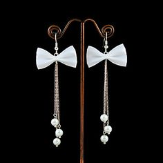 Imitation Pearls/Satin With Alloy Plating Bridal Earrings