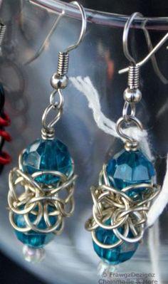 Aqua Orbital Beaded Chainmaille Earrings by FrawgzDezignz $20