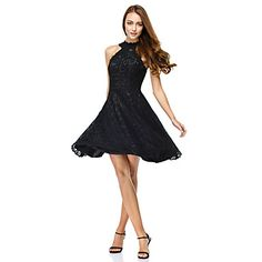 TS+Couture®+Prom++Cocktail+Party+Dress+A-line+Jewel+Knee-length+Lace+with+Lace+–+USD+$+69.99
