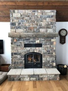 RSF Opel 2 with Rubble Drift Wood Stone installed by Webb Masonry Ltd. Wood Stone, Great Rooms, Driftwood, Family Room, Fireplaces, Room Ideas, Country, Google Search, Home Decor