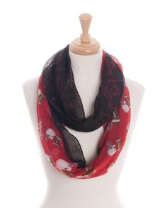 Black and Red Football Playbook Infinity Scarf