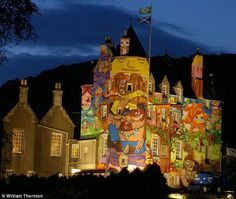 Medieval castle in Scotland - By OsGemeos, Nina Pandolfo and Nunca (Brazilian artists).