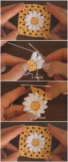 Crochet Beautiful Granny Square Motif - knitting is as easy as 3 That . - Crochet Beautiful Granny Square Motif – knitting is as easy as 3 Knitting boils down to thr - Point Granny Au Crochet, Granny Square Crochet Pattern, Crochet Blocks, Crochet Blanket Patterns, Crochet Stitches, Knitting Patterns, Granny Square Tutorial, Afghan Patterns, Crochet Blanket Flower