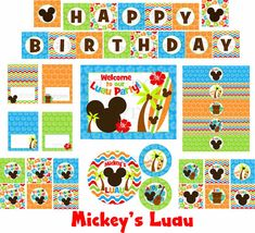 Non Personalized Mickey Luau Party Package.....INSTANT DOWNLOAD... files will be available instantly after purchase, Look for download link on page