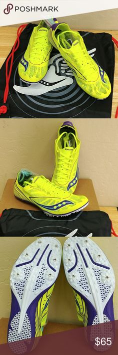 Saucony Endorphin Track & Field Running Shoes Saucony Endorphin Track & field Spike MD4 Track Racing Shoe, size 10-M US, color yellow, single layet of mesh an flex film, spike plate, cushion plush, neutral construction high arch with normal Midsole, bottom unit A-4 pin, reduce weight, compare $110.00 store retail price value, comes new with tag in original box as closeout item in good cosmetic condition. Saucony Shoes Athletic Shoes