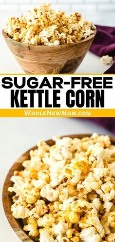 Kettle corn from Whole New Mom is EASY to make and is a healthy snack if you make it yourself from this simple recipe. It only takes a few minutes, and all the family will love it. Make this healthy sugar-free version of kettle corn with this easy recipe. Sugar Free Kettle Corn Recipe, Kettle Corn Recipe Microwave, Easy Snacks, Healthy Snacks, Easy Meals, Nutritious Snacks, Healthy Eating, Sugar Free Desserts