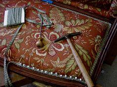 Graham&Sandra's Settee-Nailing in Gimp trim-  By Robert & Mary Rae