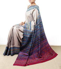 Multicoloured Tussar Silk Saree with Kantha Work