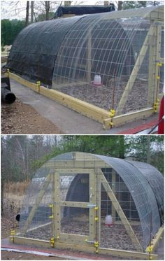 Welcome to living Green & Frugally. We aim to provide all your natural and frugal needs with lots of great tips and advice, Permanent Hoop, Chicken Coop Guide Diy Chicken Coop Plans, Portable Chicken Coop, Best Chicken Coop, Chicken Coop Designs, Backyard Chicken Coops, Building A Chicken Coop, Chickens Backyard, Hoop House Chickens, Simple Chicken Coop