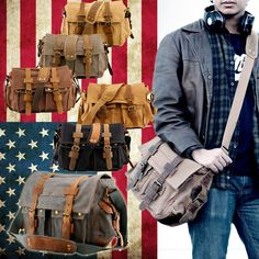 Men Vintage Style Canvas Leather Satchel School Military Shoulder Messenger Bag in Clothing, Shoes & Accessories, Men's Accessories, Backpacks, Bags & Briefcases Vintage Men, Vintage Fashion, Vintage Style, Vintage Canvas, Canvas Leather, Leather Satchel, Michael Kors Bag, Mens Fashion, Moda Masculina