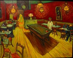 """Caffè di notte"", Vincent van Gogh, 1888; olio su tela, 70x89; Yale University Art Gallery, New Haven, Conneticut."