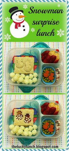 Snowman surprise packed for lunch with @EasyLunchboxes