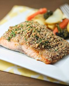 Pecan Crusted Honey-Mustard Salmon. Use almond meal instead of bread ...