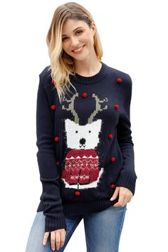 Shop Online The Latest Fashion Navy Cartoon Front Accent Christmas Sweater Body Lingerie, Christmas Sweaters For Women, Christmas Hoodie, Christmas Clothes, Pom Pom Sweater, Holiday Wear, Casual Sweaters, Cardigans, Sweater Shop