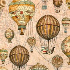 Bavlněná látka Létající balóny, Vintage, digitální tisk