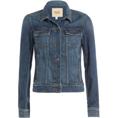 Paige Slim Denim Jacket ($285) ❤ liked on Polyvore featuring outerwear, jackets, coats, coats & jackets, blue, fitted denim jacket, denim jacket, fitted jacket, long sleeve jean jacket and fitted jean jacket