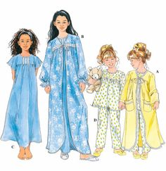 Girl's SLEEPWEAR Sewing Pattern - GIRLS Nightgown Pajamas PJS Robe - 4 Sizes