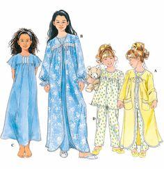 Girl's SLEEPWEAR Sewing Pattern - GIRLS Nightgown Pajamas PJS Robe - 4 Sizes