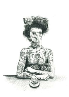 tattoo lady with bird mask art print  limited by JulieFilipenko, ₪110.00