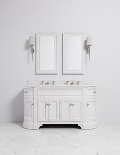 Double Vanity Unit includes a base unit painted in Moher with a Carrara marble top. At Porter every bathroom vanity is bespoke.