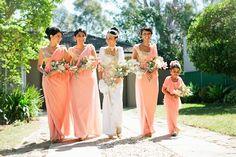 Helanis Peach and Gold Designer Kandyan Wedding - beautiful Kandyan sarees! Bridesmaid Saree, Indian Bridesmaids, Wedding Bridesmaids, Bridesmaid Colours, Sri Lankan Bride, Saree Wedding, Wedding Dresses, Wedding Outfits, South Asian Bride