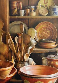 Hdr Art Print featuring the photograph Utensils - Remembering Momma by Mike Savad Old Kitchen, Wooden Kitchen, Vintage Kitchen, Primitive Kitchen Decor, Kitchen Seating, Kitchen Things, Cocina Shabby Chic, In China, Primitive Kitchen